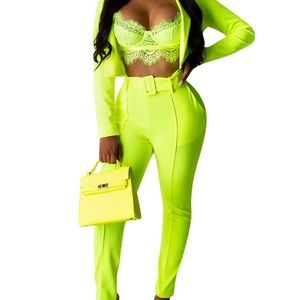 3 piece neon outfit! Pants, Belt and suit